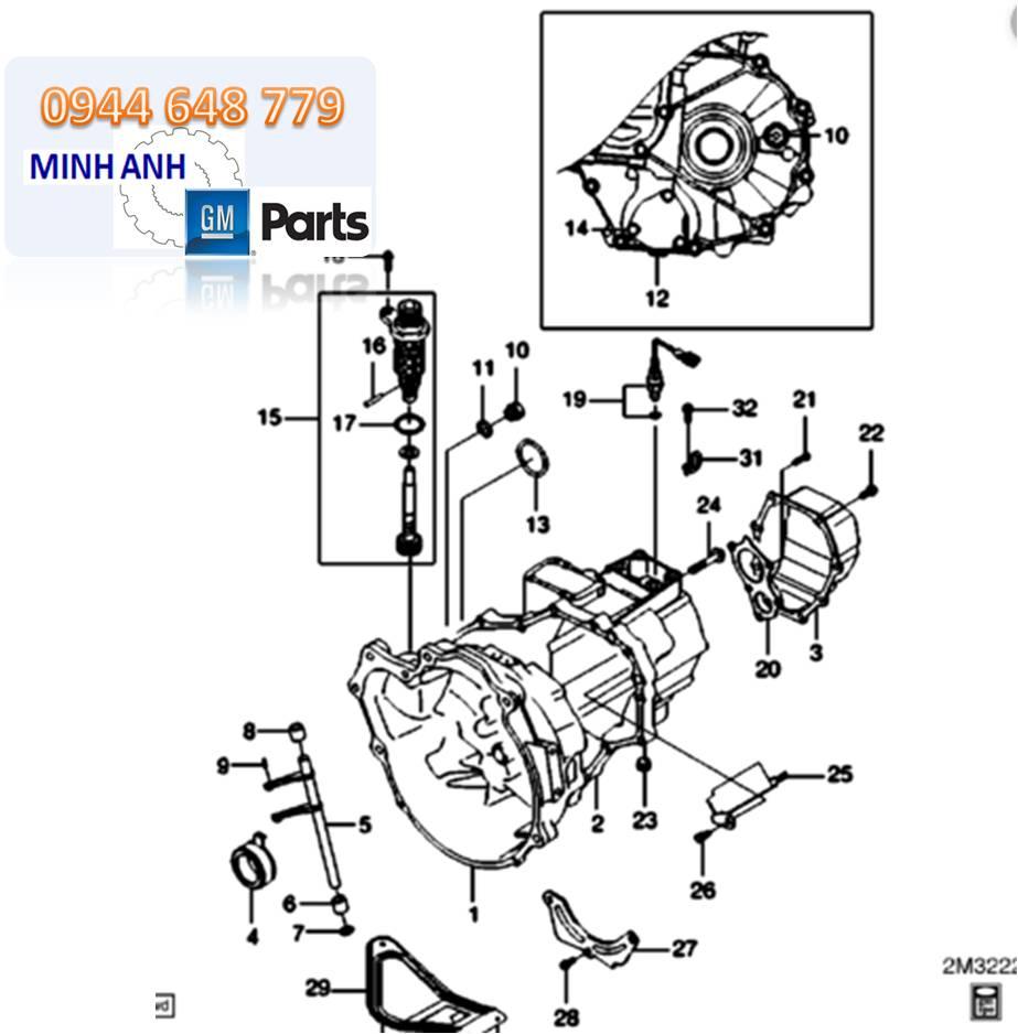 Vỏ hộp số bên Trái Spark M200 chính hãng GM
