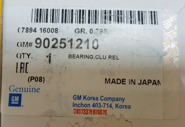 Bi tê xe Gentra chính hãng GM