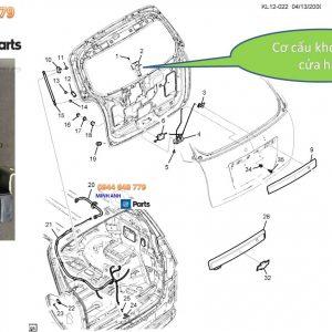 Cơ cấu khóa kính cửa hậu xe Captiva chính hãng GM
